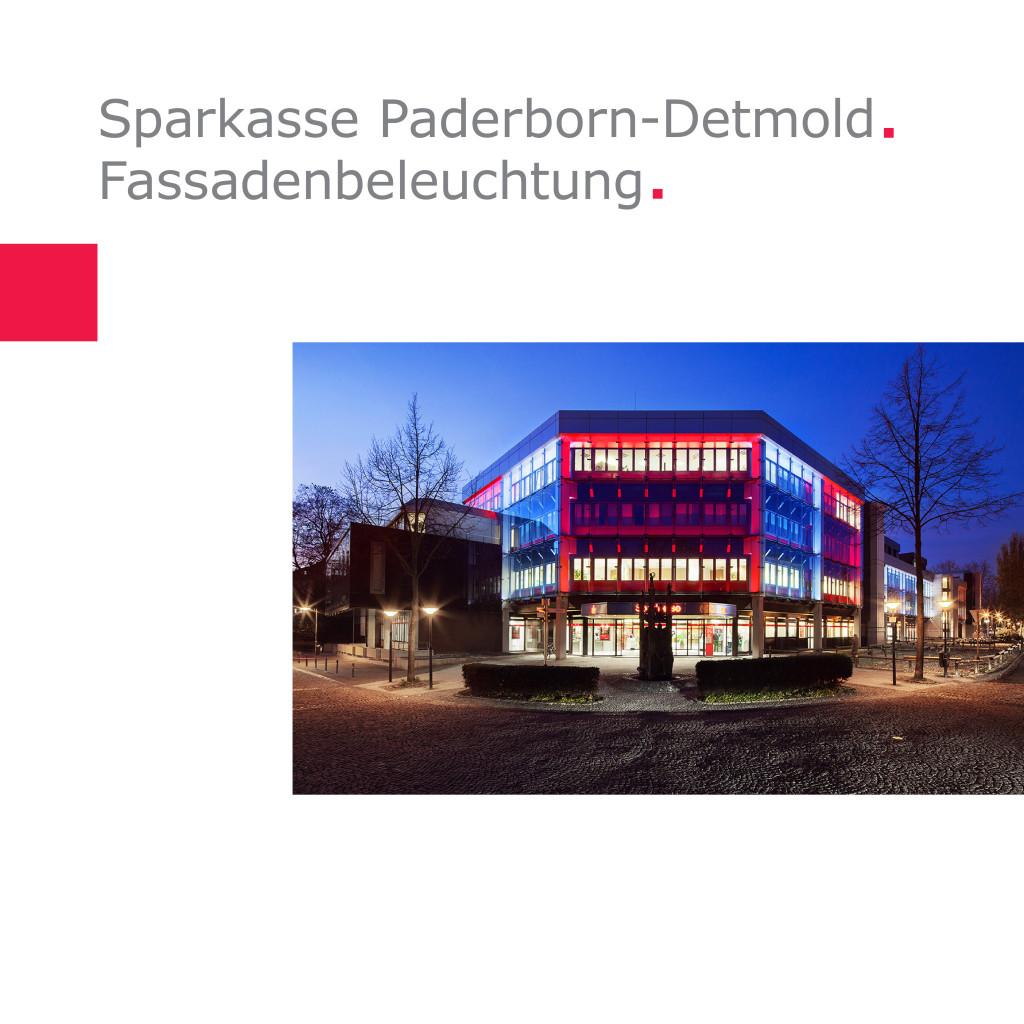 Sparkasse Paderborn-Detmold   Fassadenbeleuchtung Hauptfiliale am Maspernplatz, Paderborn