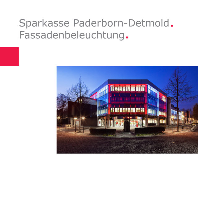 Sparkasse Paderborn-Detmold | façade illumination at the headquarter at Maspernplatz, Paderborn