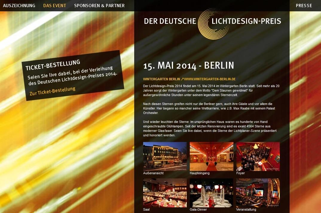Website Deutscher Lichtdesign-Preis
