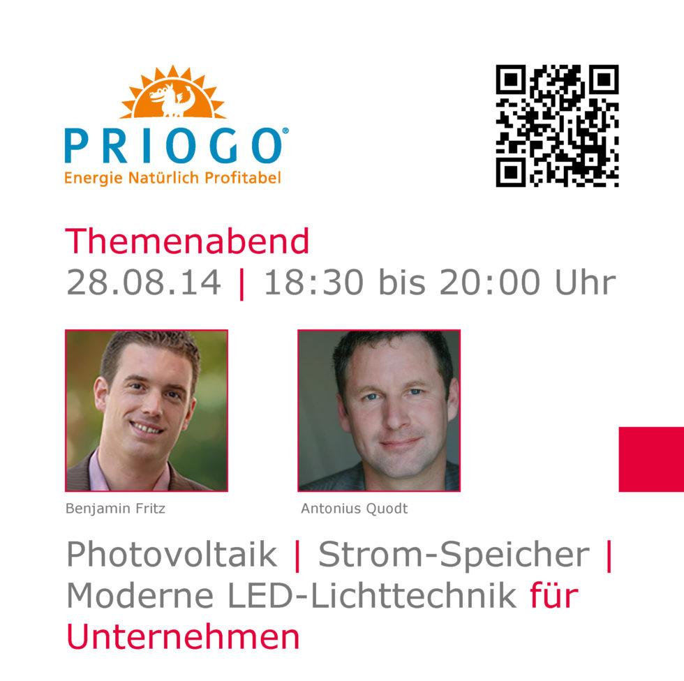 Priogo Themenabend: Photovoltaik | Strom-Speicher | Moderne LED-Lichttechnik für Unternehmen