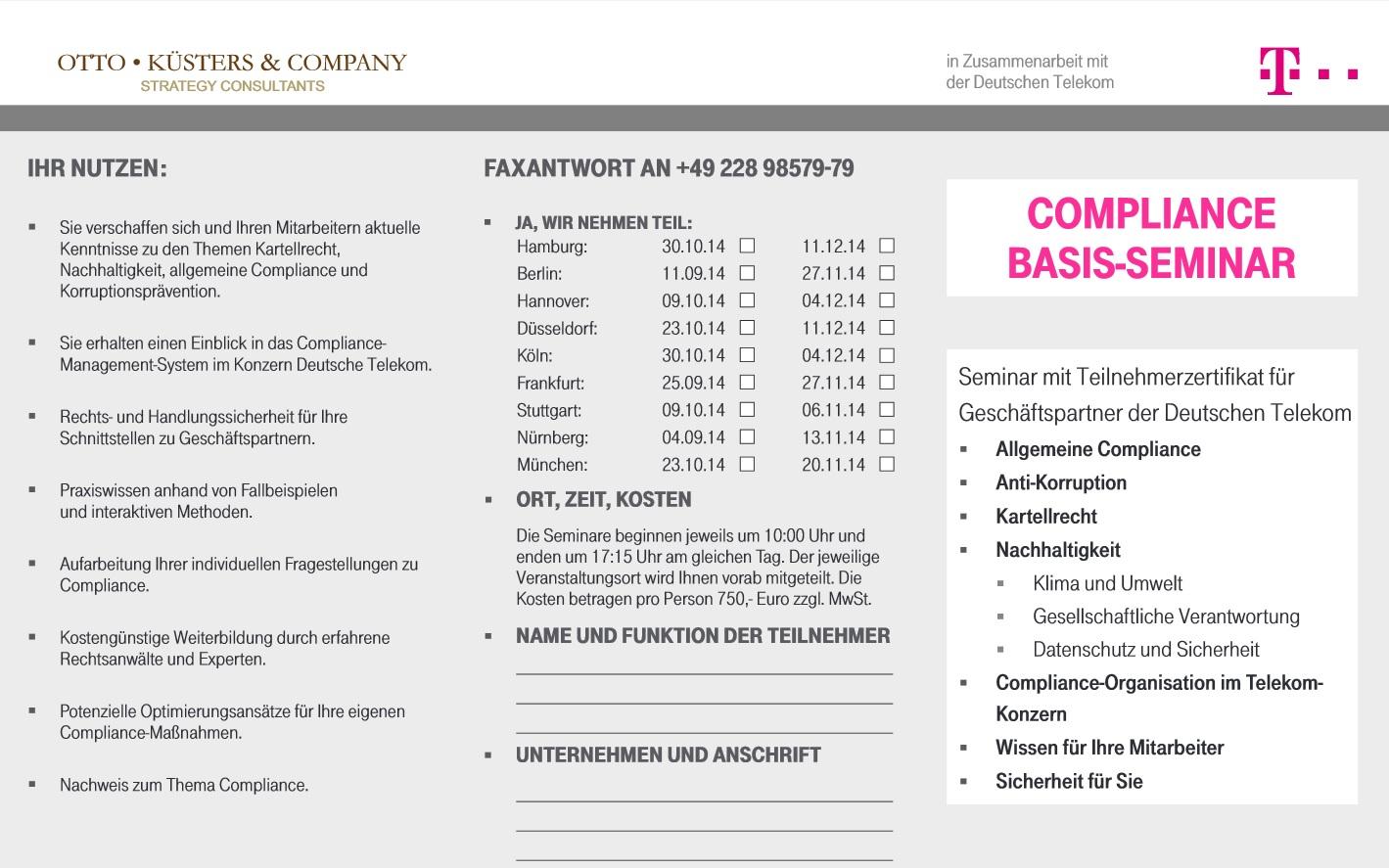 Telekom Compliance Basisseminar