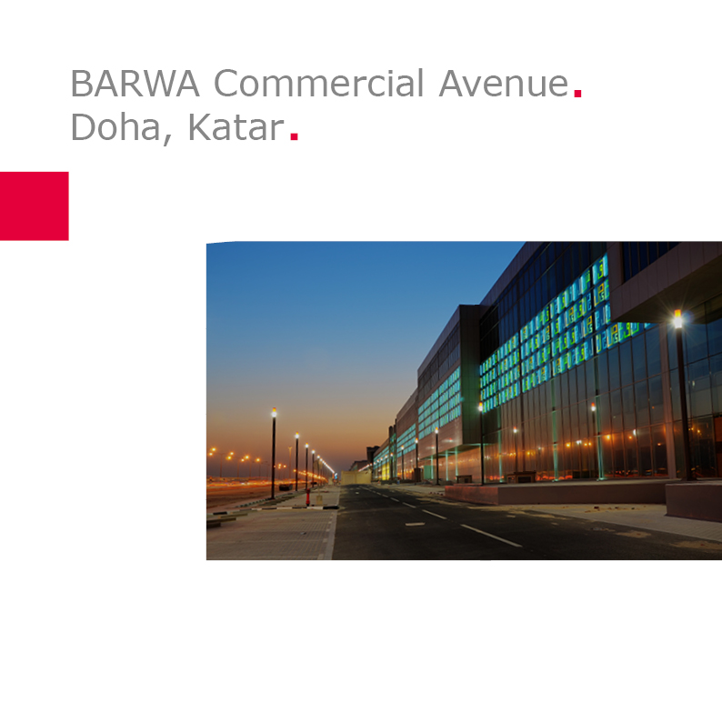 BARWA Commercial Avenue, Doha, Katar | Lettering Works Type 3