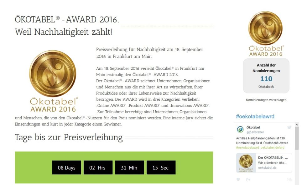 "Nominierung für den Oekotabel-Award 2016 in der Kategorie ""Innovation"""