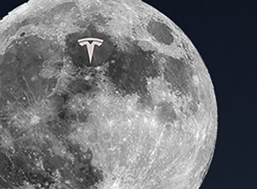 Casually rolling out the logo of TESLA on the moon